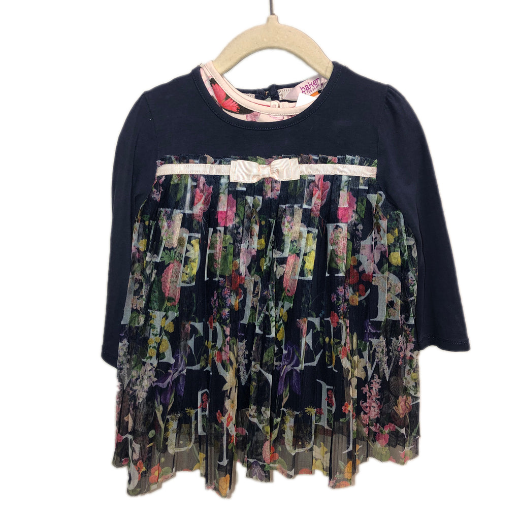 Kids Girls Ted Baker Navy floral tunic 18-24m