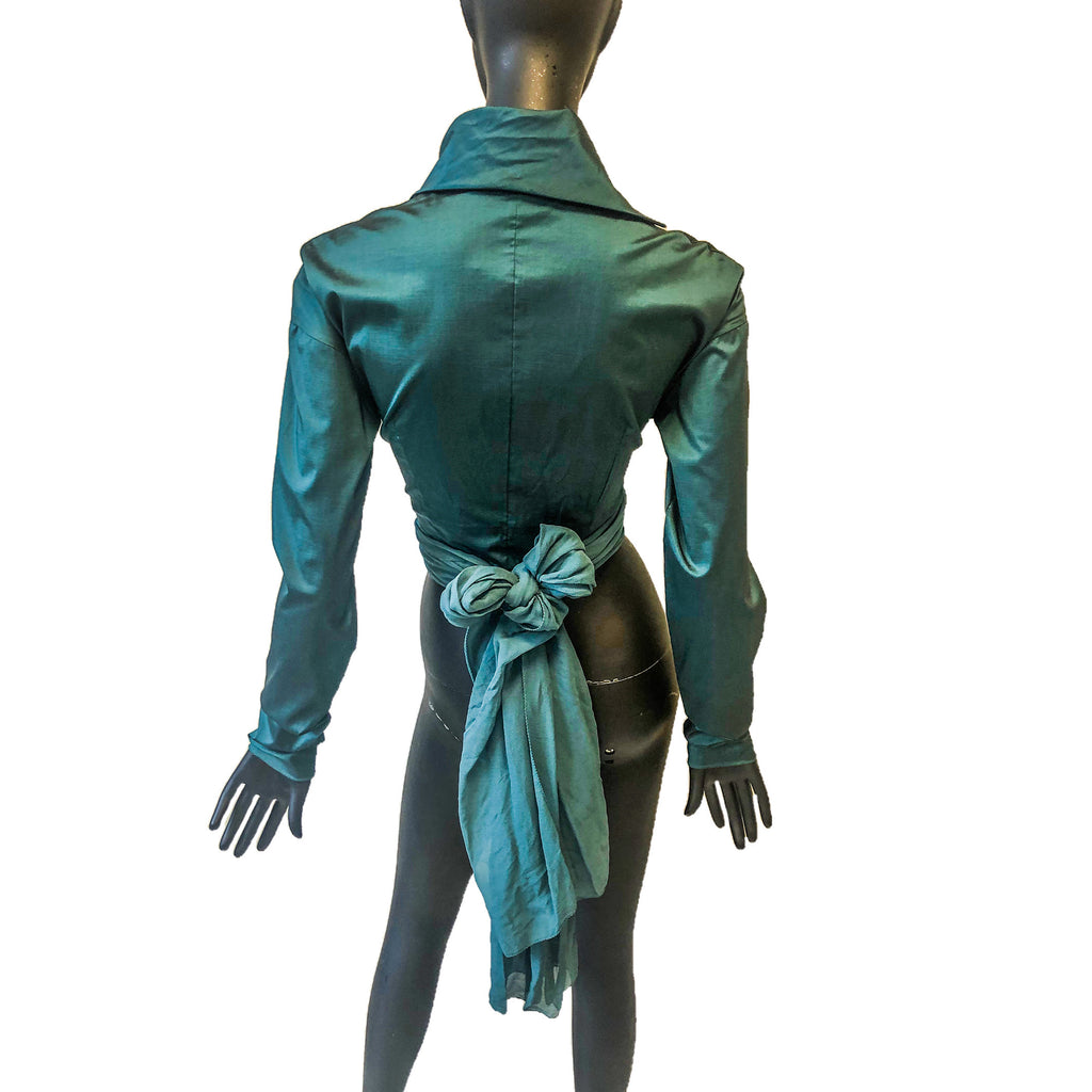 Dolce & Gabbana Green Cropped Shirt With Wrap Tie Detail Size 8 C