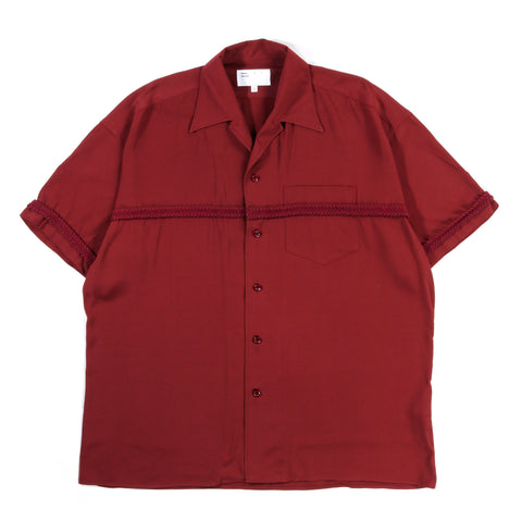 4SDESIGNS BRAIDED COMBO SHIRT S/S BURGUNDY