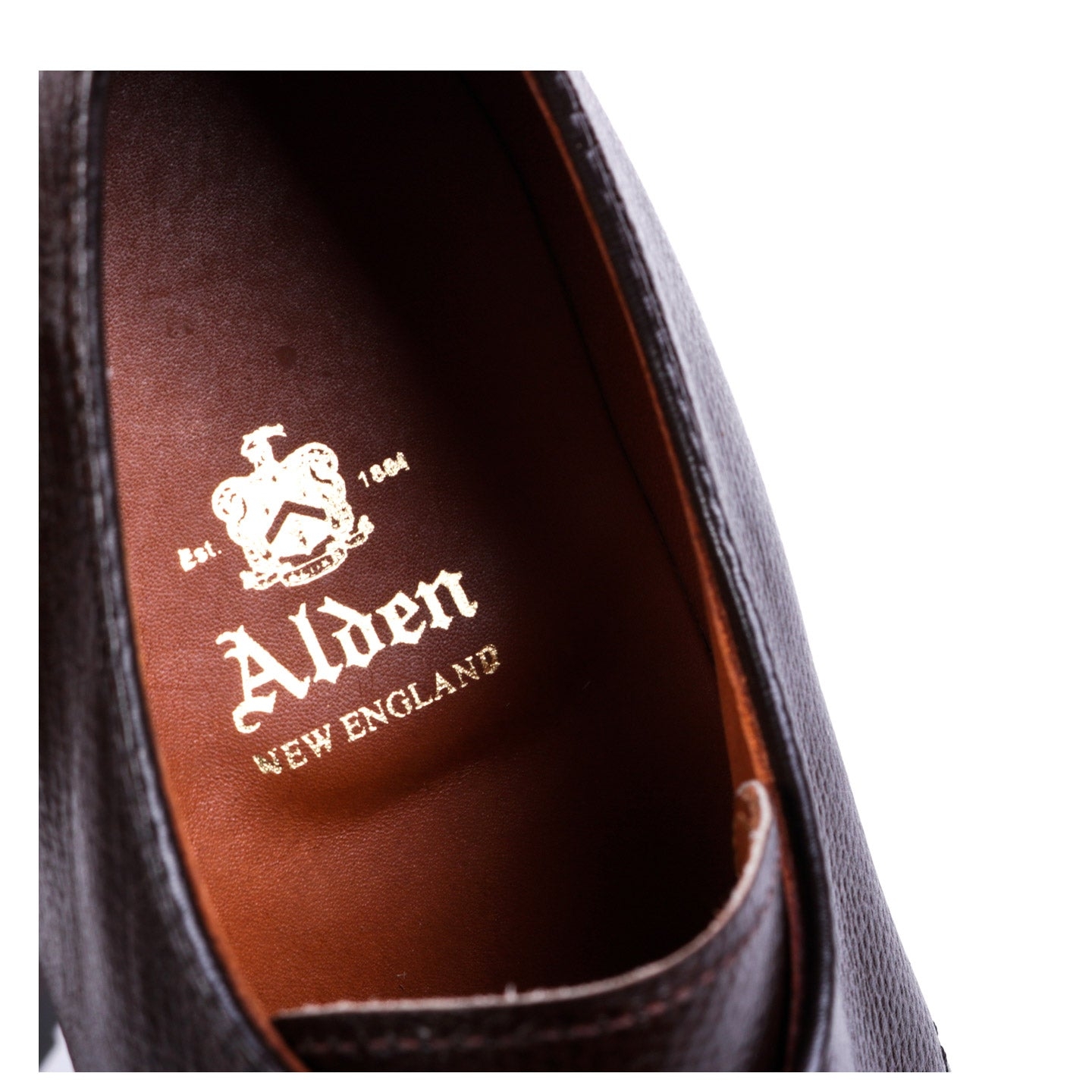 ALDEN 941C DUTTON 3 EYE BLUCHER OX DARK BROWN ALPINE GRAIN CALF
