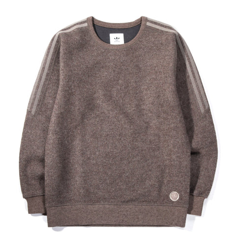 ADIDAS ORIGINALS BY WINGS + HORNS BONDED WOOL CREW NECK SIMPLE BROWN