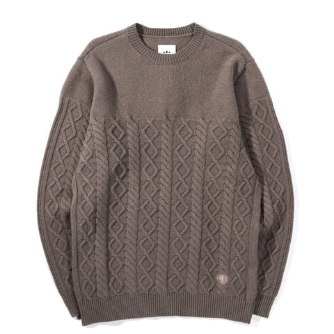 ADIDAS ORIGINALS BY WINGS + HORNS FELTED CREW NECK SWEATER SIMPLE BROWN