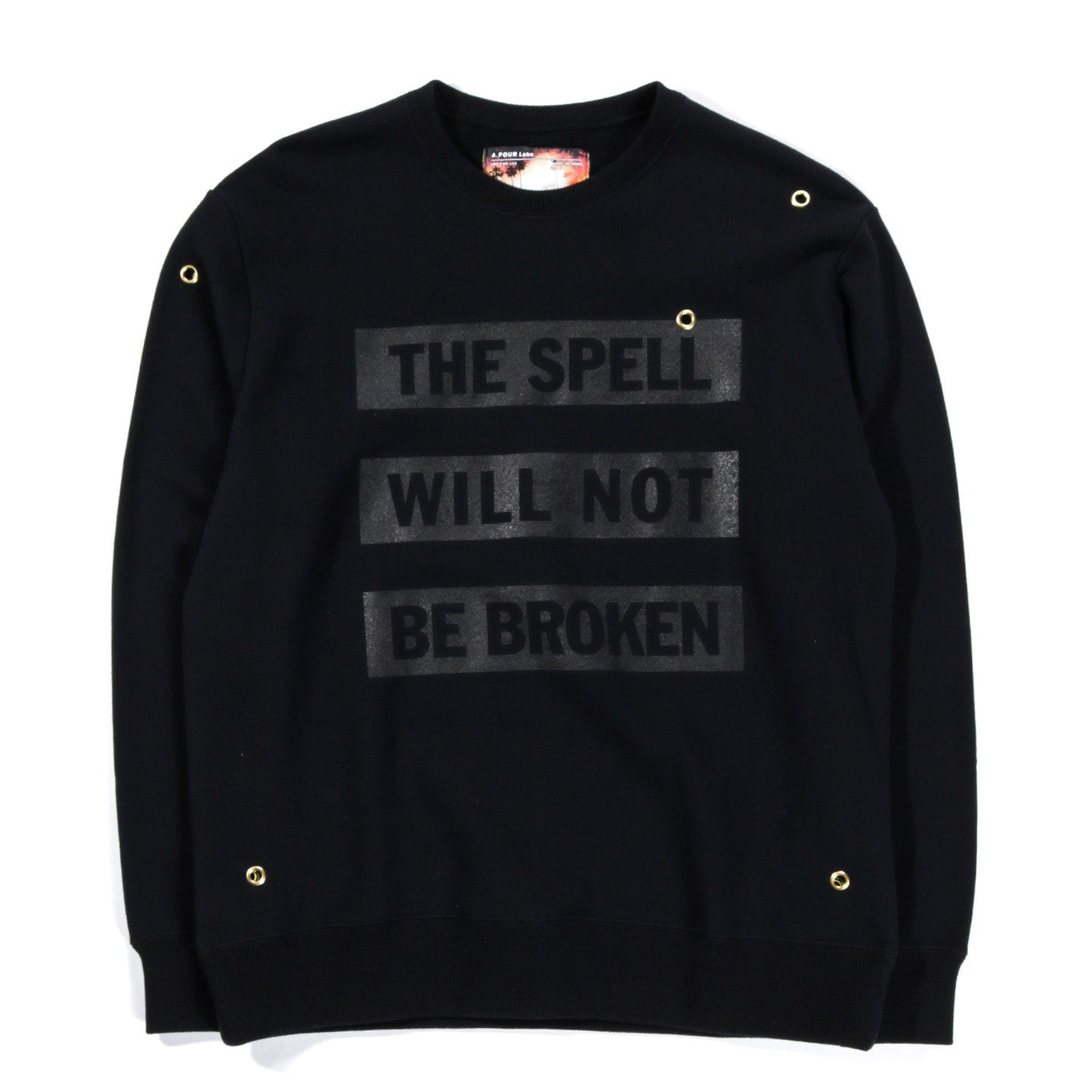 A.FOUR X CALI THORNHILL DEWITT EYELET SWEAT BLACK
