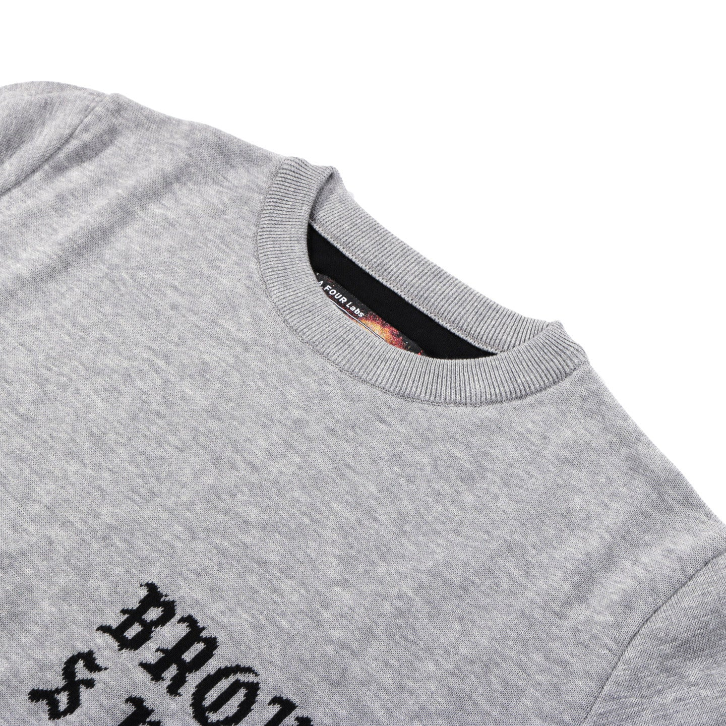 A.FOUR X CALI THORNHILL DEWITT TOMBSTONE SWEATER GREY
