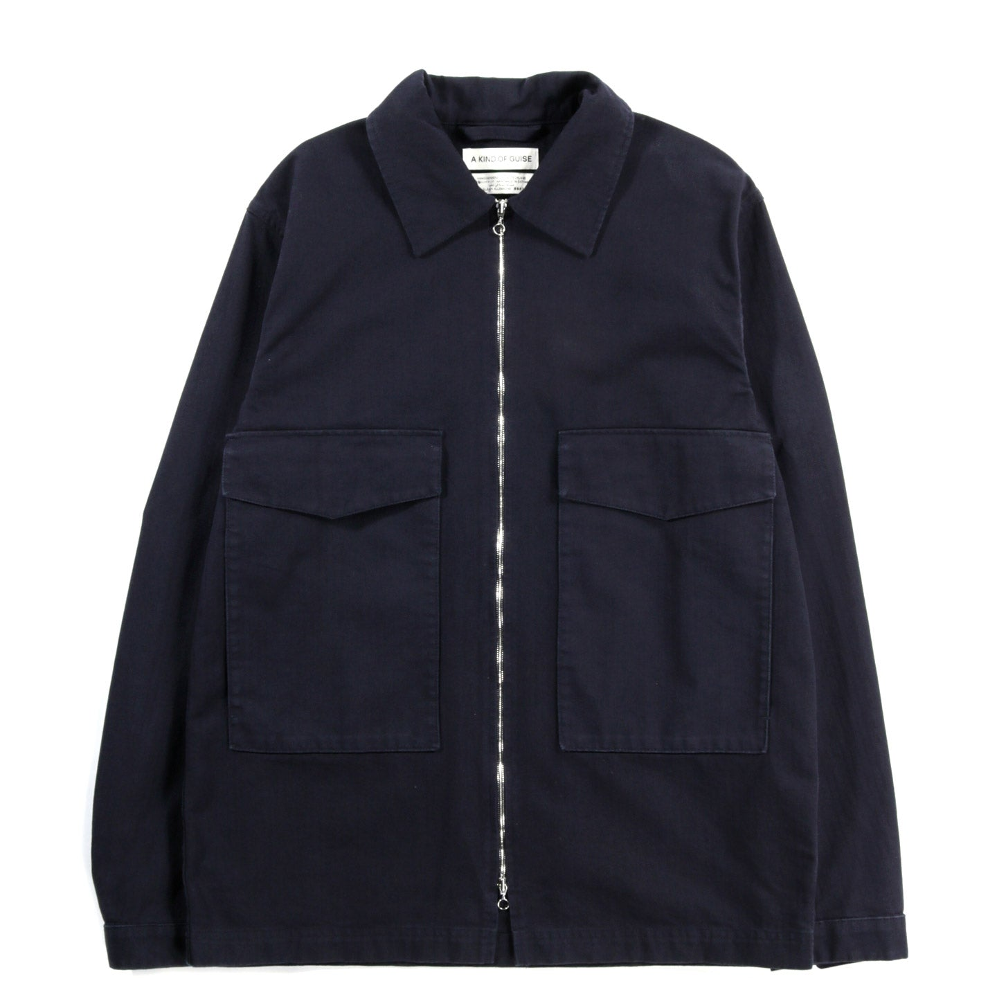 A KIND OF GUISE LIR OVERSHIRT NAVY HERRINGBONE
