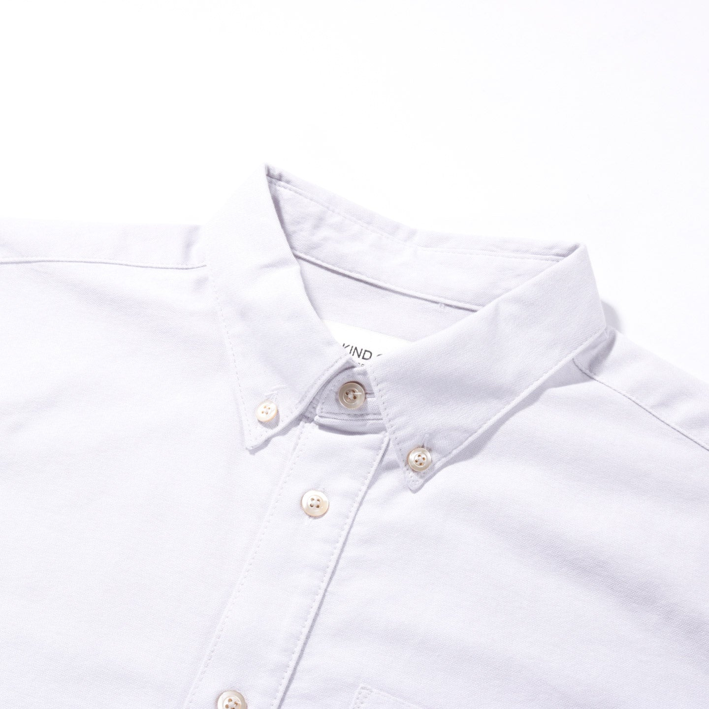 A KIND OF GUISE PERMANENTS BUTTON DOWN OXFORD LIGHT GREY