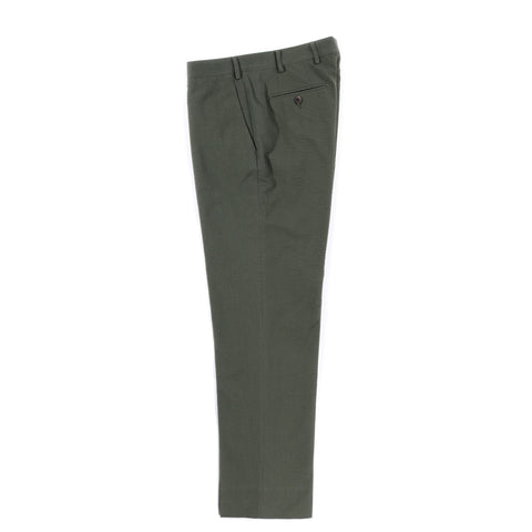 A KIND OF GUISE RELAXED TAILORED TROUSERS OLIVE SEERSUCKER