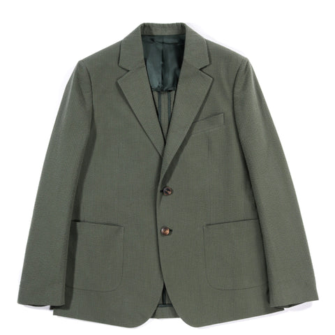 A KIND OF GUISE RELAXED NOTCH BLAZER OLIVE SEERSUCKER