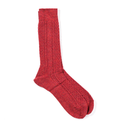 ANONYMOUS ISM WOOL CASHMERE LINKS CREW SOCK RED