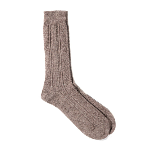 ANONYMOUS ISM WOOL CASHMERE LINKS CREW SOCK BEIGE