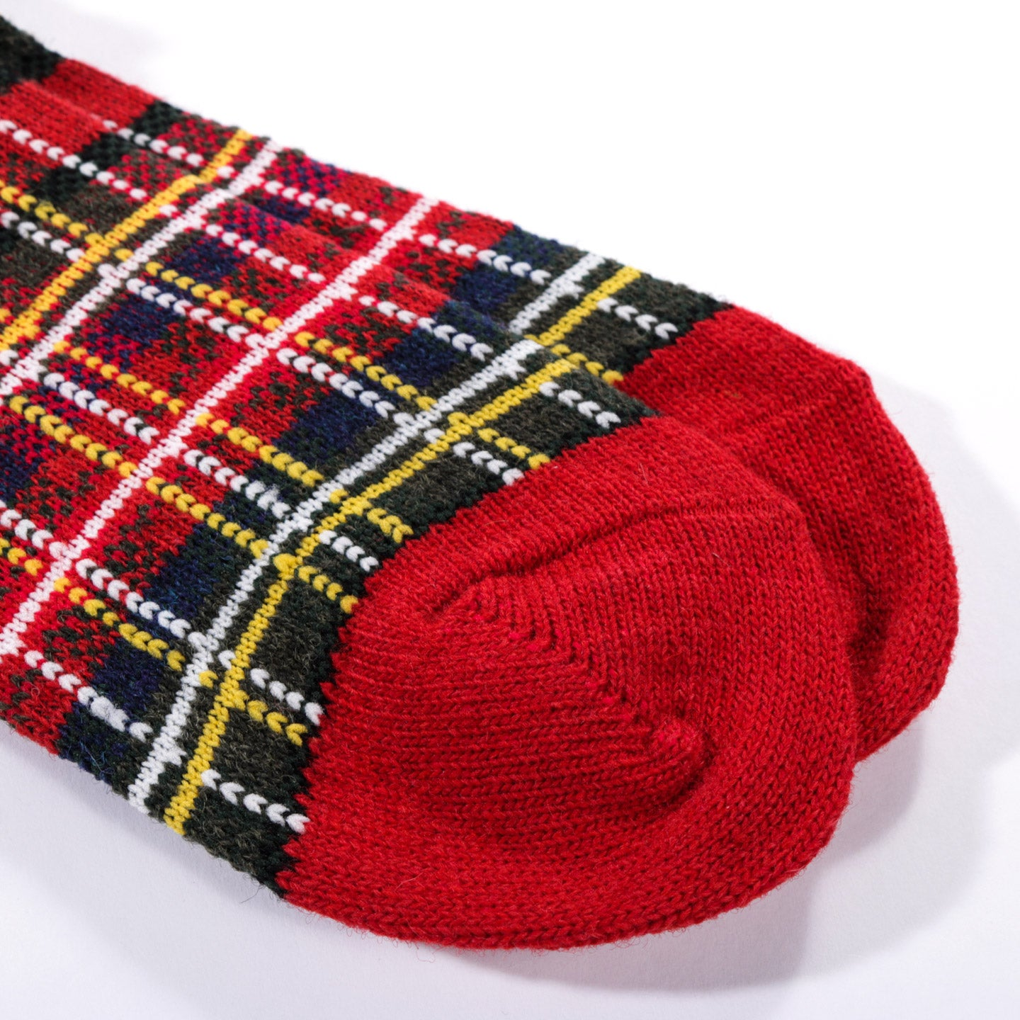 ANONYMOUS ISM WOOL CHECK CREW SOCK RED