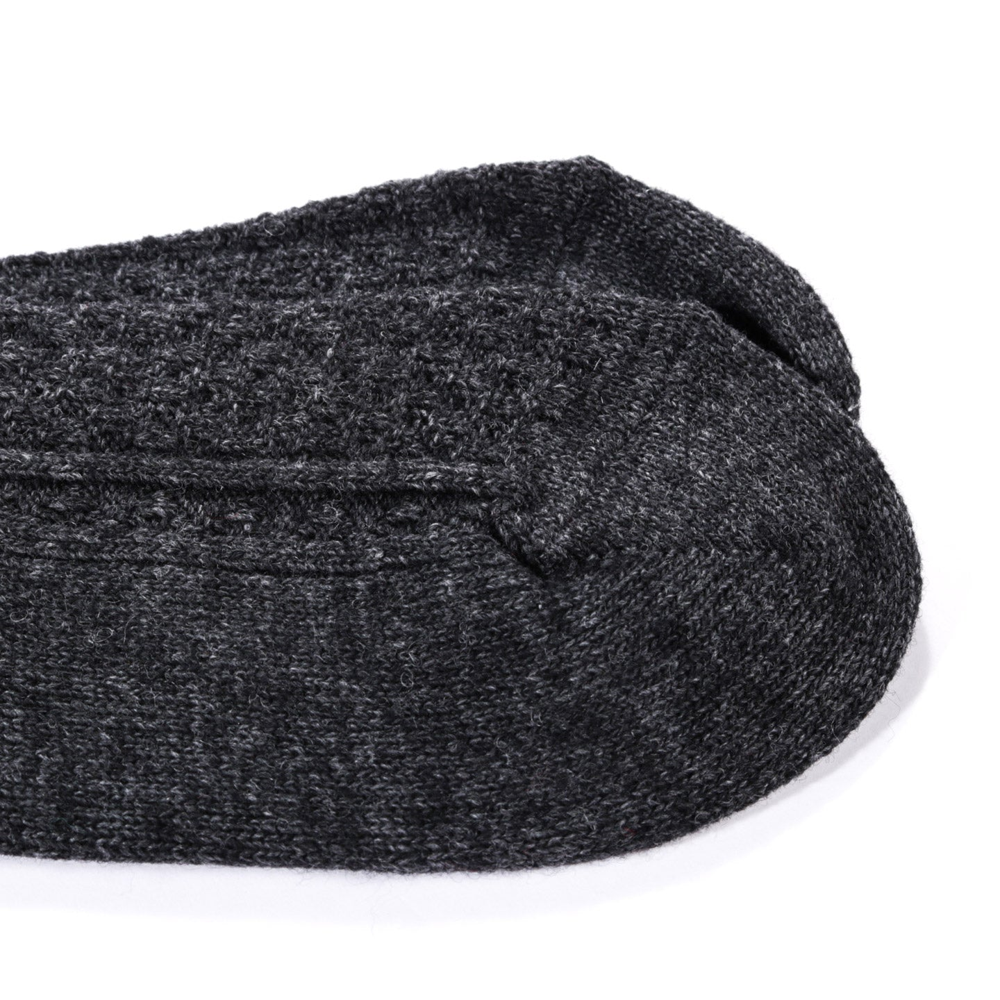 ANONYMOUS ISM WOOL CASHMERE LINKS CREW SOCK CHARCOAL