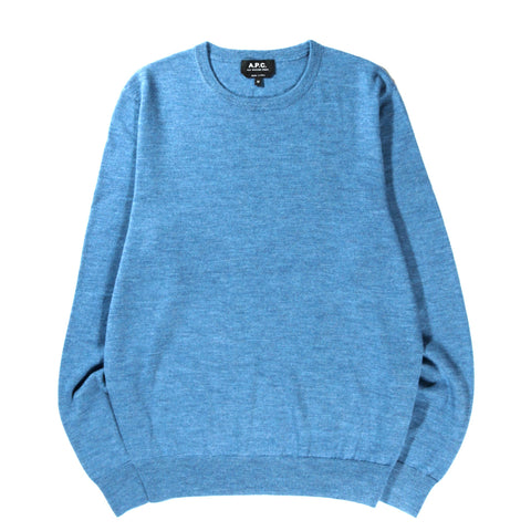 A.P.C. KING SWEATER HEATHER STEEL BLUE