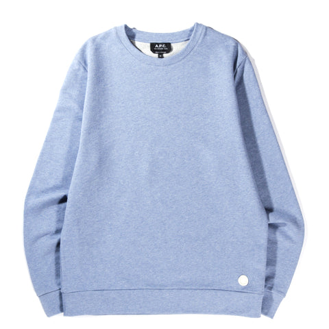 A.P.C. LABEL SWEATSHIRT BLUE GREY HEATHER