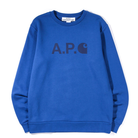A.P.C. CARHARTT WIP ICE SWEATSHIRT ROYAL BLUE