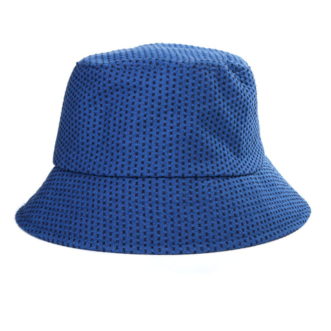 "BLUE BLUE JAPAN INDIGO YARN DYED STITCHED ""SASHIKO"" BUCKET HAT BLUE"
