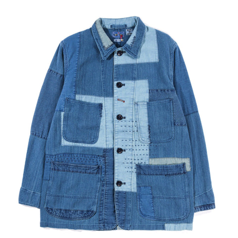 "BLUE BLUE JAPAN INDIGO YARN DYED ""SASHIKO"" BLUE PATCHWORK COVERALL JACKET"