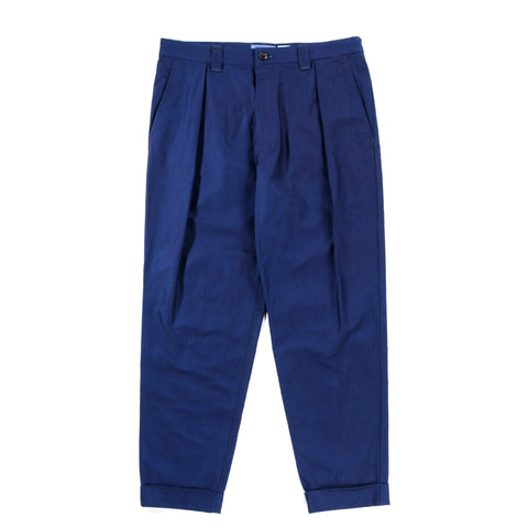 BLUE BLUE JAPAN INDIGO DYED COTTON HD SATIN ONE-TUCK PANTS