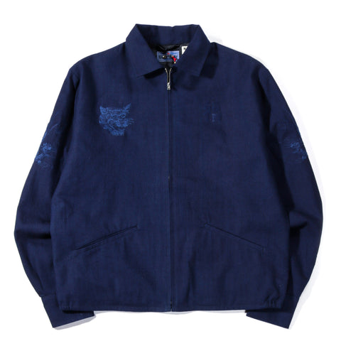 "BLUE BLUE JAPAN INDIGO SOFT TWILL ""MT FUJI & SAKURA"" BLOUSON"