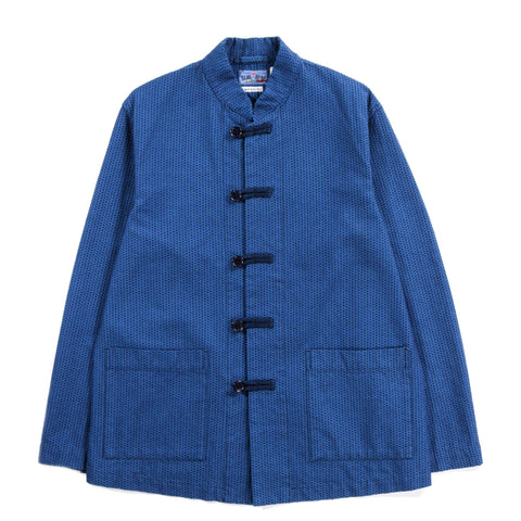"BLUE BLUE JAPAN INDIGO YARN DYED STITCHED ""SASHIKO"" STAND COLLAR COVERALL BLUE"