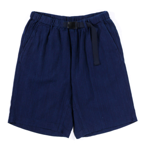 "BLUE BLUE JAPAN INDIGO YARN DYED ""SASHIKO"" MOUNTAIN SHORTS"