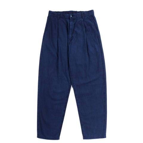 BLUE BLUE JAPAN COTTON / LINEN CHINO HAND DYED ONE TUCK BAGGY PANTS INDIGO