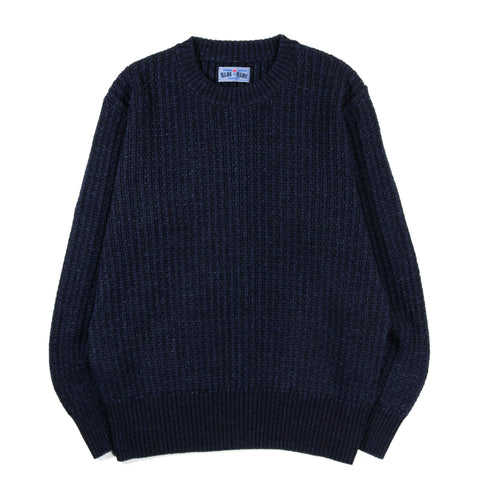 BLUE BLUE JAPAN INDIGO YARN DYED WIDE RIB CREW NECK
