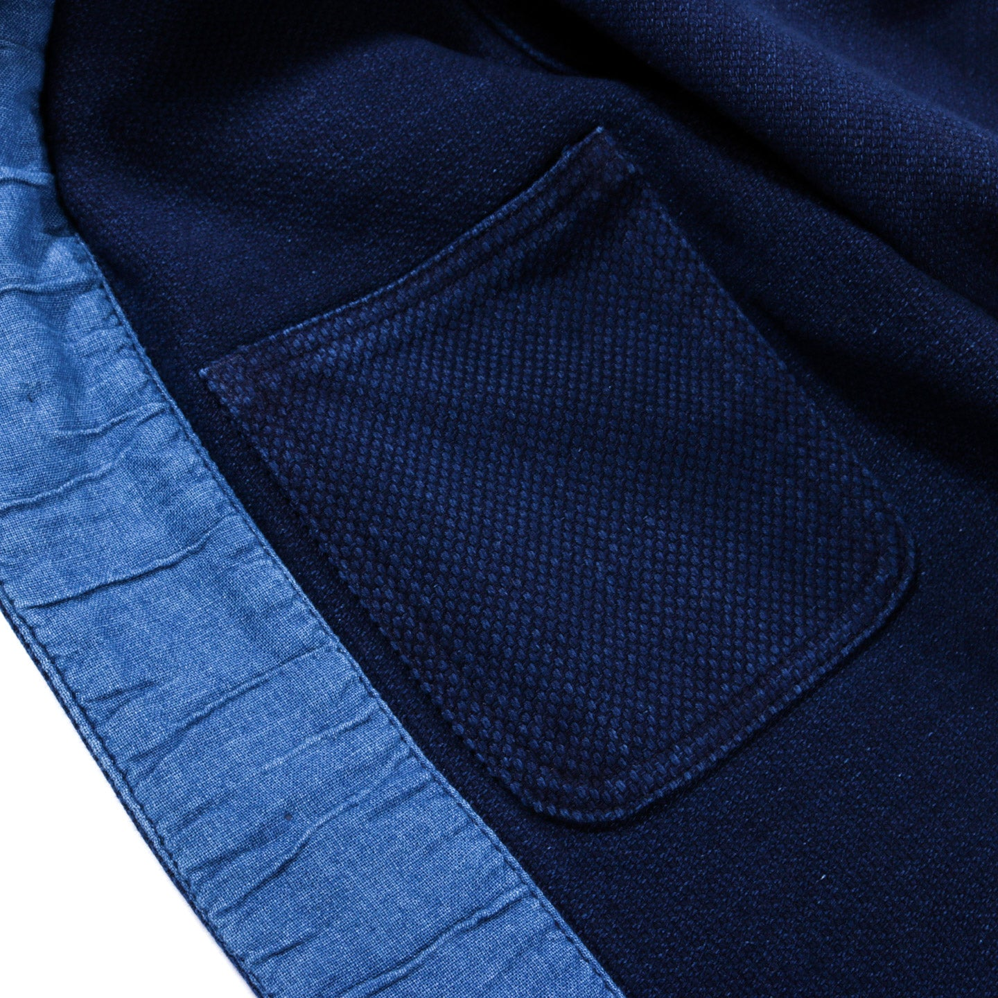"BLUE BLUE JAPAN PURE INDIGO ""SASHIKO"" WASHED COVERALL JACKET"
