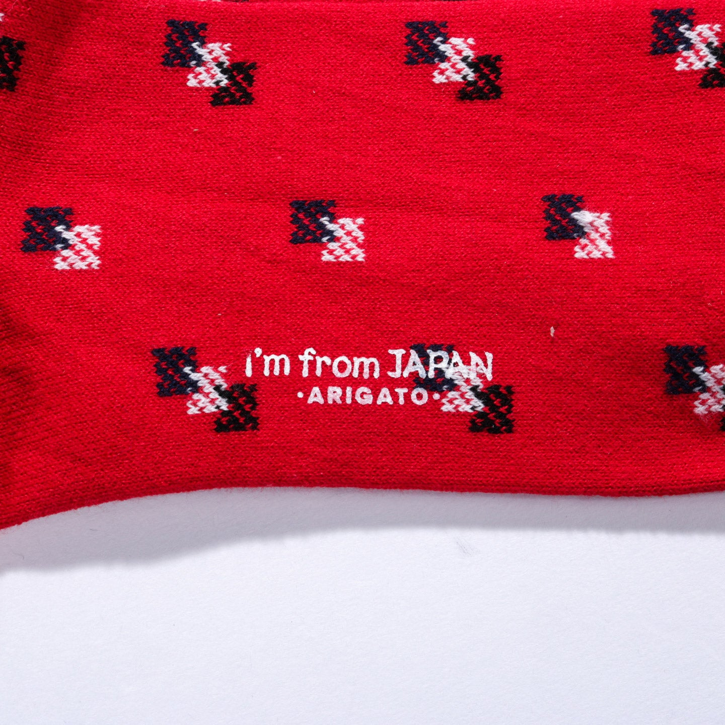 "BLUE BLUE JAPAN COTTON JACQUARD ""KOMON"" PATTERN SOCKS RED"