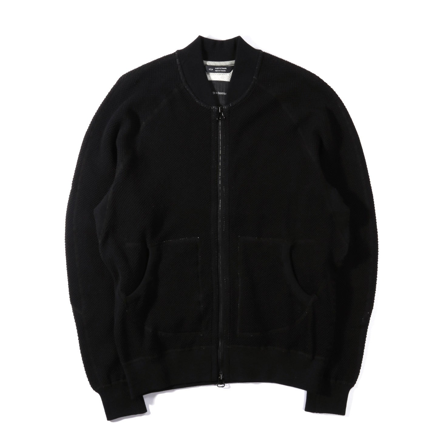 WINGS + HORNS HONEYCOMB KNIT BOMBER BLACK