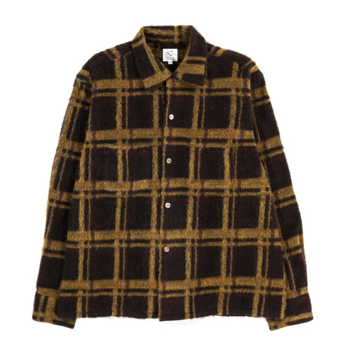 THE CONSPIRES CHECKED LONG SLEEVE SHIRT BROWN / YELLOW