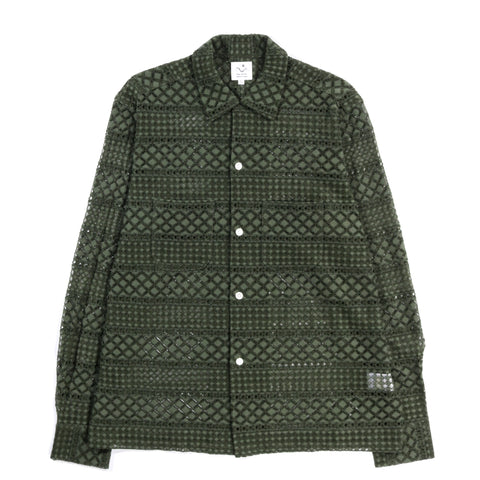 THE CONSPIRES LACED LONG SLEEVE SHIRT OLIVE