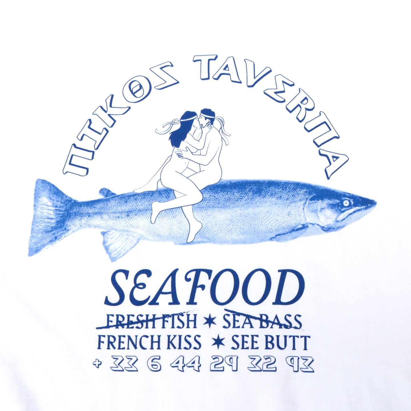 CARNE BOLLENTE FRESH FISH FRENCH KISS T-SHIRT WHITE