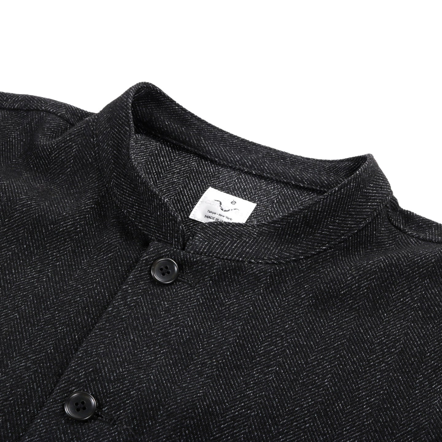 THE CONSPIRES STAND COLLAR HERRINGBONE JACKET CHARCOAL