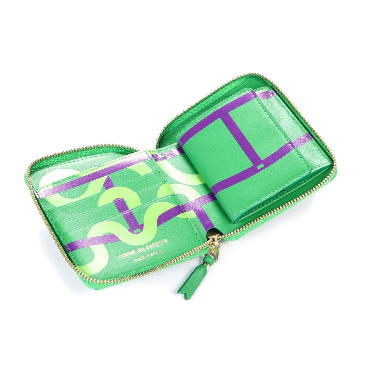 COMME DES GARCONS SA2100 RUBY EYES ZIP WALLET GREEN