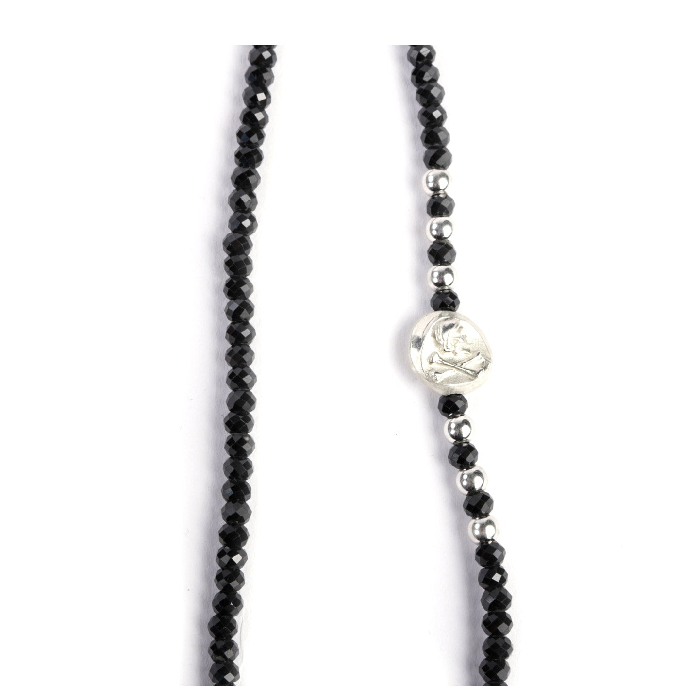 NEIGHBORHOOD X CORE JEWELS BLACK SPINEL NECKLACE SILVER