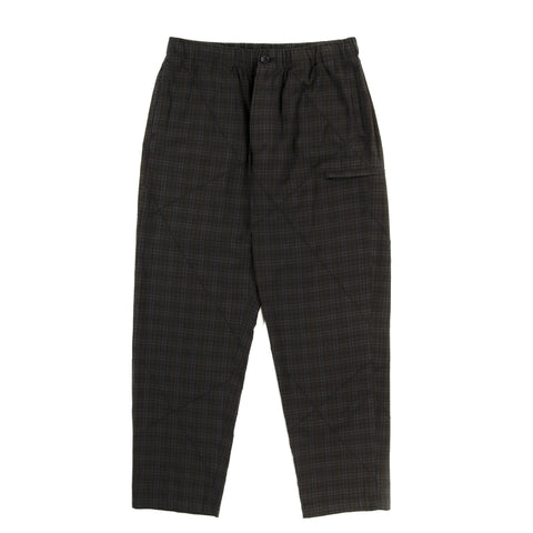 ENGINEERED GARMENTS DRAWSTRING PANT DARK OLIVE COTTON PINTUCK SMALL PLAID