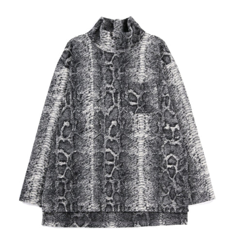 ENGINEERED GARMENTS MOCK TURTLE GREY POLY WOOL SNAKE PRINT KNIT