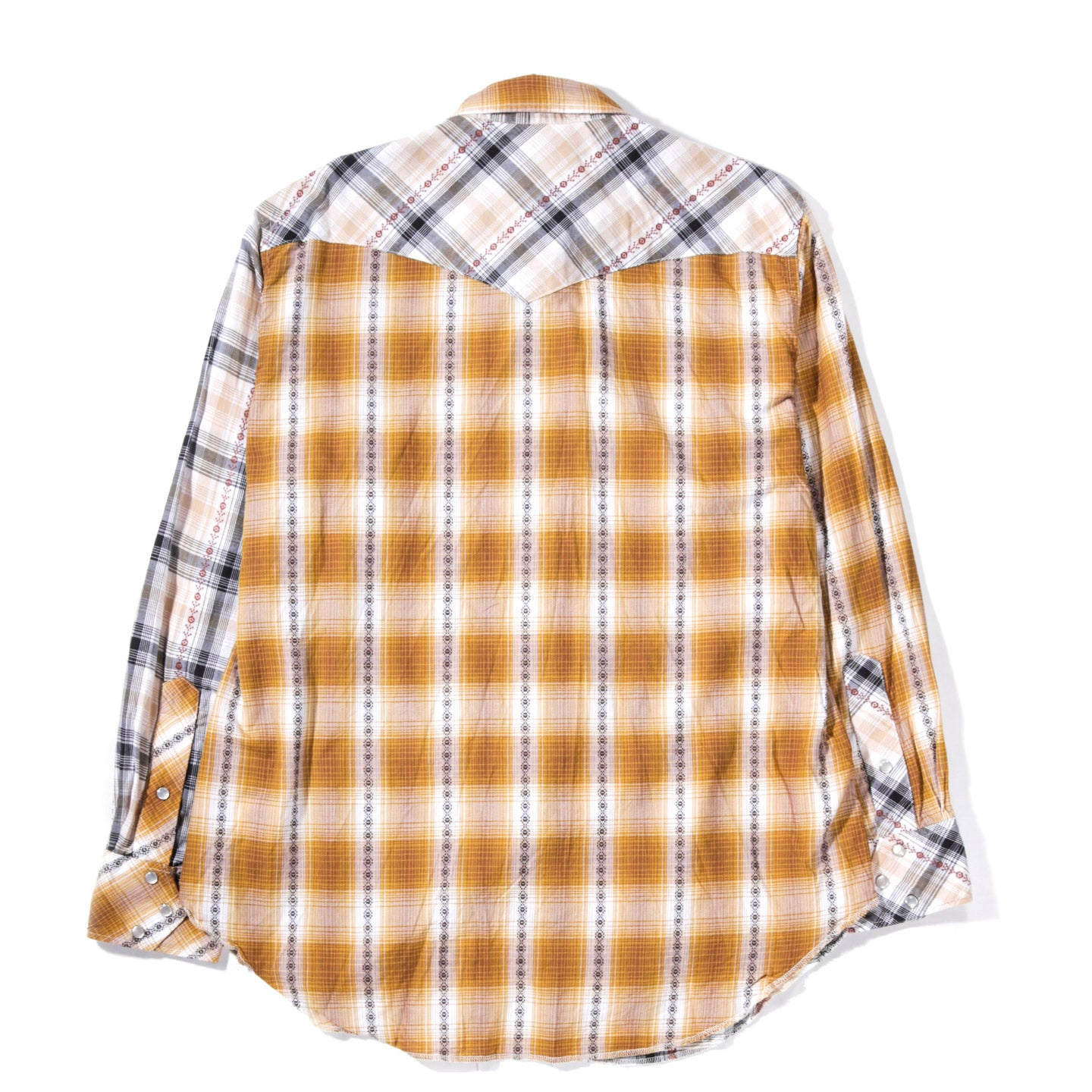 ENGINEERED GARMENTS WESTERN SHIRT TAN DOBBY SHADOW PLAID