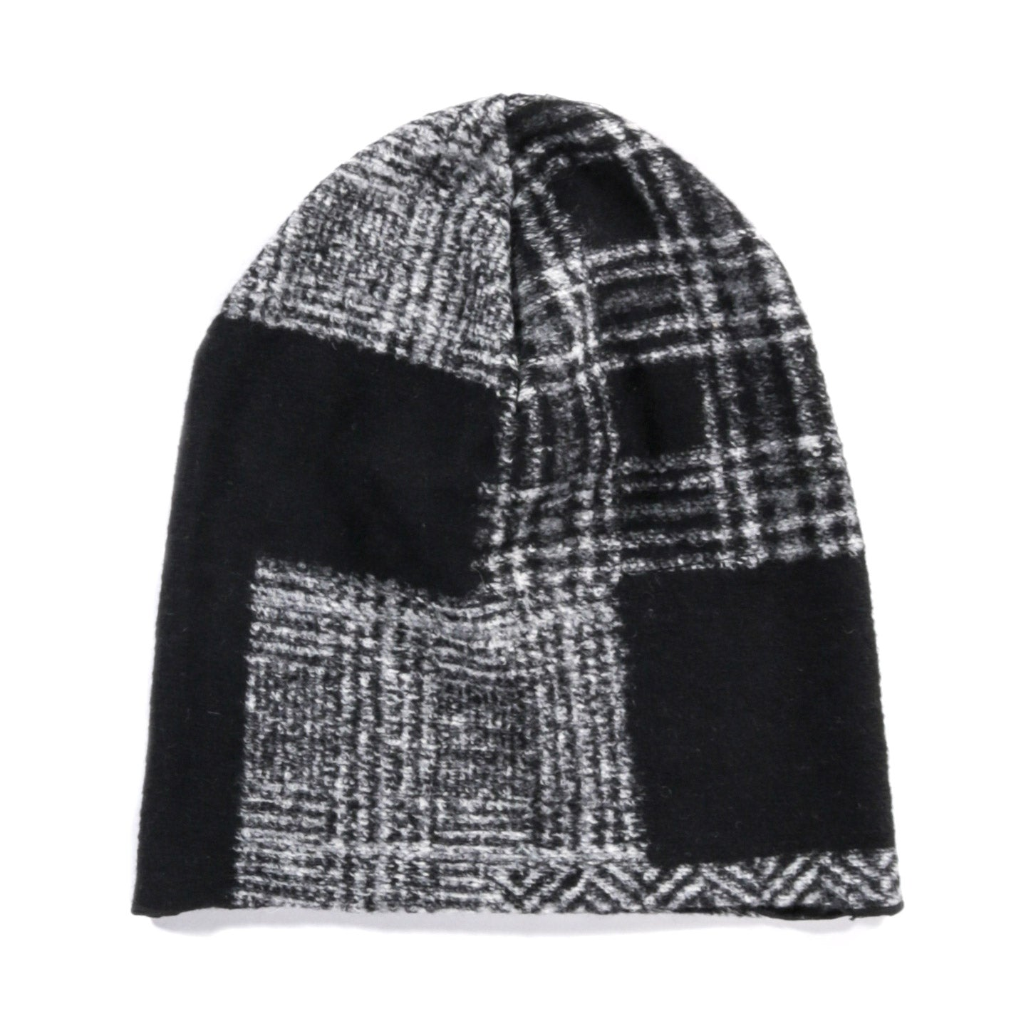 ENGINEERED GARMENTS BEANIE CAP BLACK GREY KNIT PATCHWORK HERRINGBONE