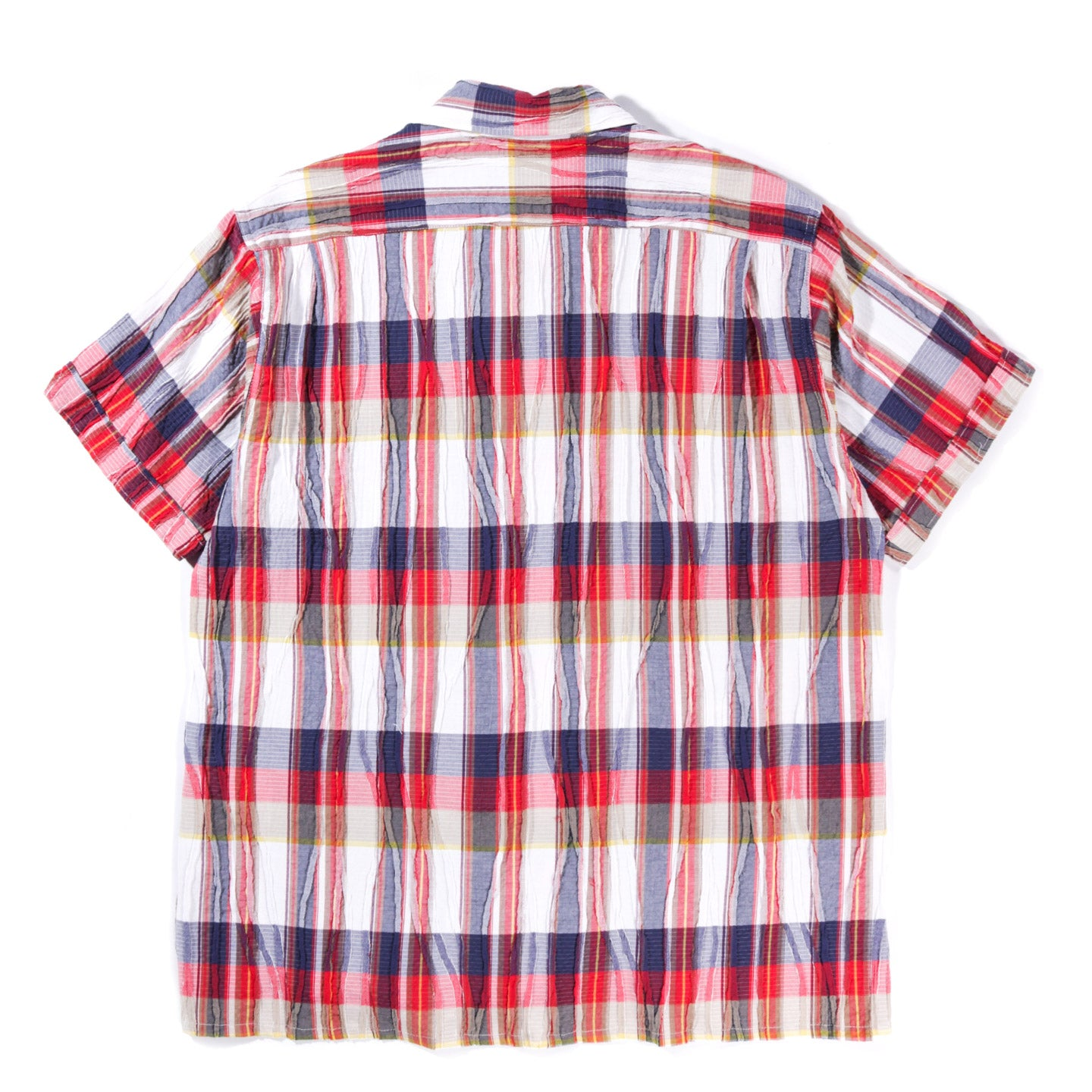 ENGINEERED GARMENTS CAMP SHIRT RED WHITE COTTON CREPE CHECK