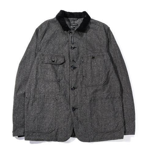 ENGINEERED GARMENTS COVERALL JACKET GREY SALT AND PEPPER TWILL