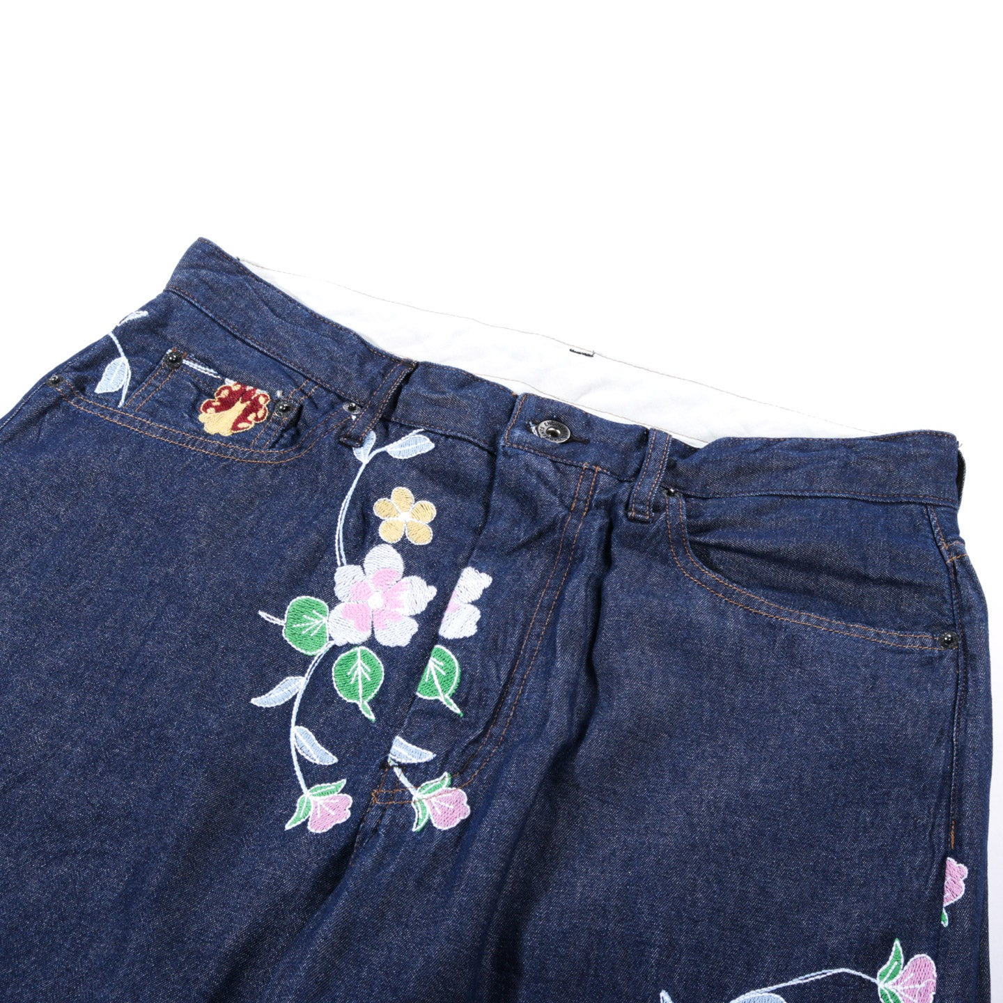 ENGINEERED GARMENTS PEG JEAN INDIGO DENIM FLORAL EMBROIDERY