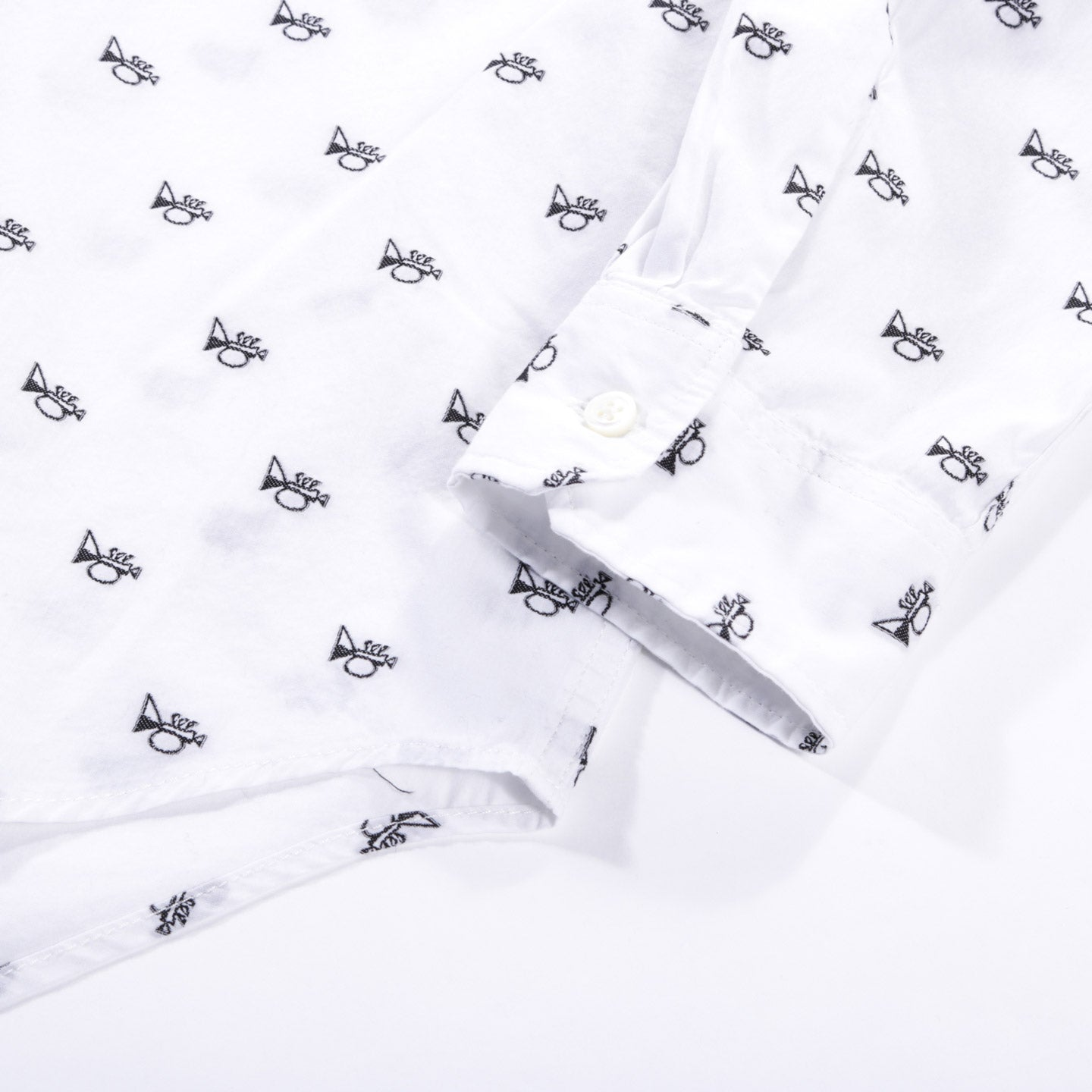 ENGINEERED GARMENTS TAB COLLAR SHIRT WHITE TRUMPET EMBROIDERY BROADCLOTH