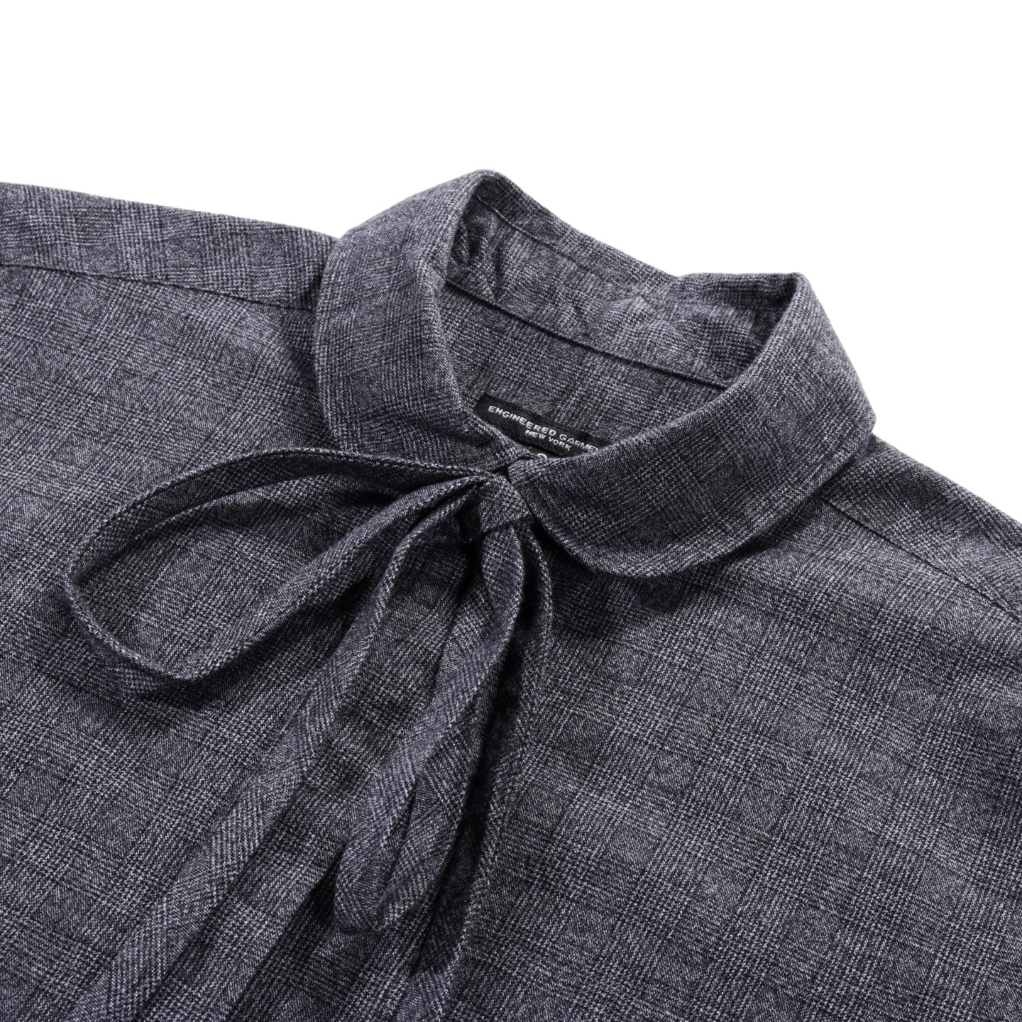 ENGINEERED GARMENTS ROUNDED COLLAR SHIRT GREY COTTON GLEN PLAID