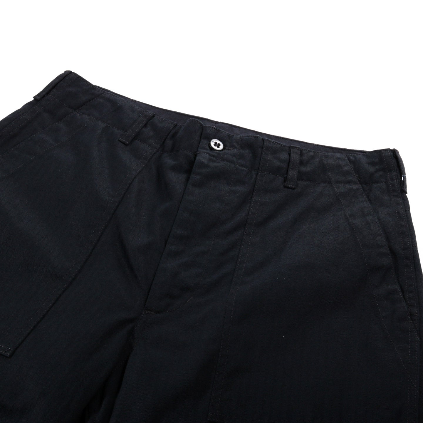 ENGINEERED GARMENTS FATIGUE PANT BLACK COTTON HERRINGBONE TWILL