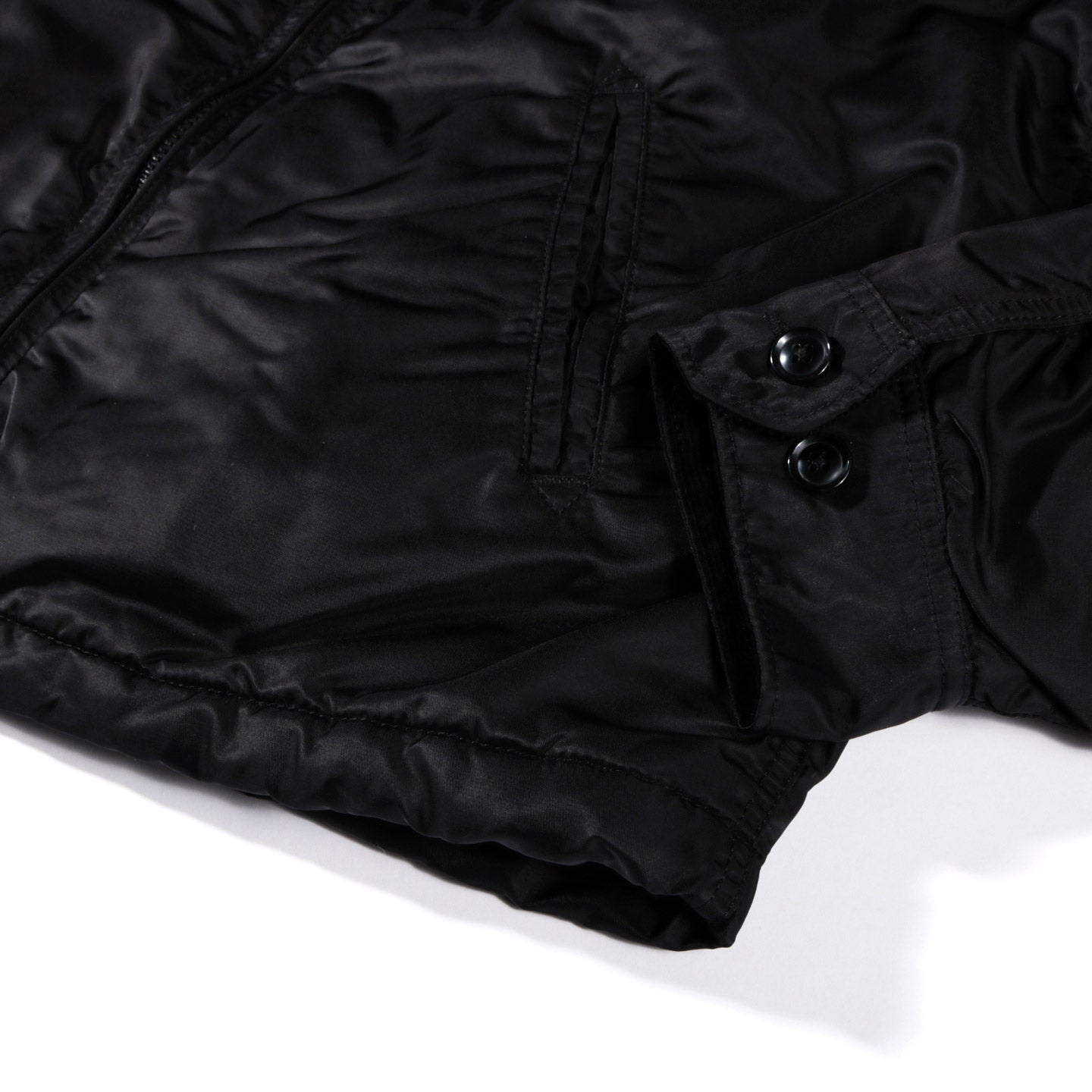 ENGINEERED GARMENTS DRIVER JACKET BLACK FLIGHT SATIN NYLON