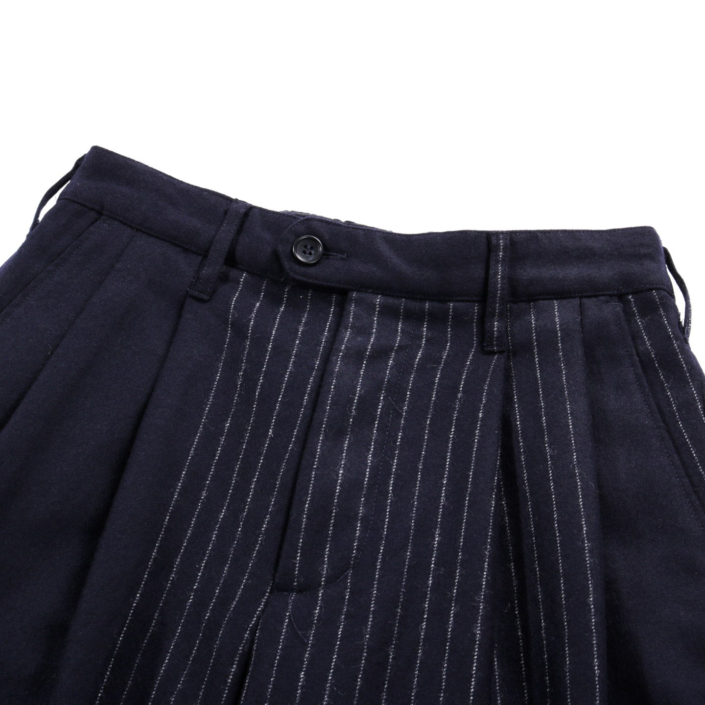 ENGINEERED GARMENTS EMERSON PANT DARK NAVY WOOL CHALK STRIPE