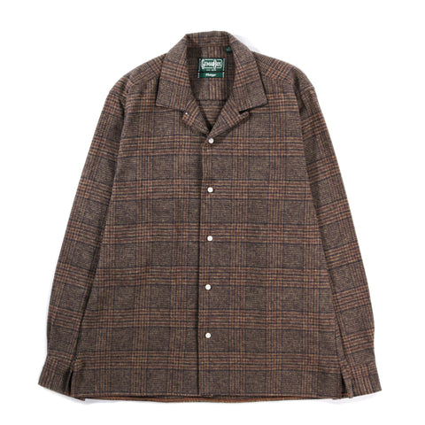 GITMAN VINTAGE OPEN COLLAR COTTON TWEED BROWN