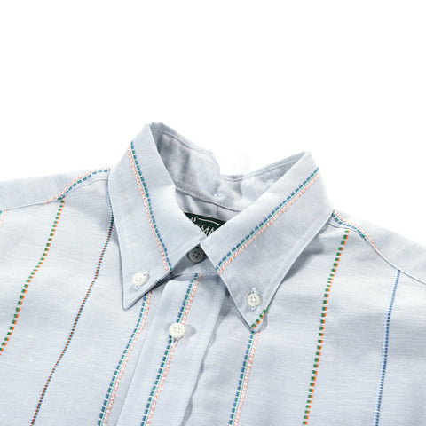 GITMAN VINTAGE SS BUTTON DOWN COTTON / POLY 2-TONE SEERSUCKER NAVY